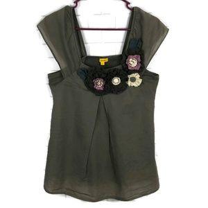 LULUMARI Embellished Rosette Sleeveless Blouse S